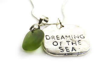 Silver Plated Dreaming of the Sea Necklace with Cornish Sea Glass
