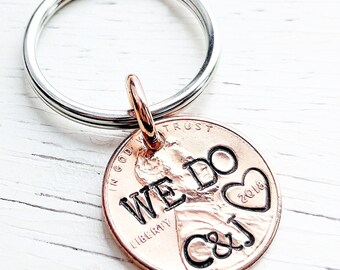 Groom Gift, Gift for Him, Wedding Day Gift, Personalized Groom Gift, Penny Key Chain, Good Luck Penny, Good Luck, Gift for Groom from Bride