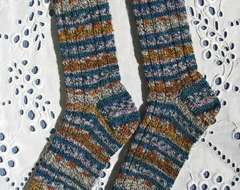 Ladies Hand Knit Wool Socks - Med-Lge - Multi Stripes Marled Look Fall Colors with Blue Turquoise Superwash Wool