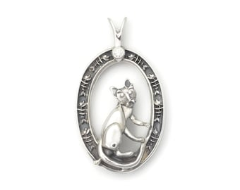 Sterling Silver Cat Pendant, Diamond Cat Necklace, Diamond Cat Pendant, Donna Pizarro, Animal Whimsey Collection, Custom Cat Jewelry