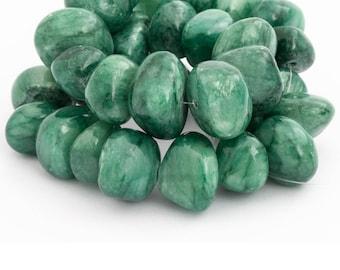 Green Jade Stone Bead, Nugget Bead, Gemstone Bead, Semiprecious Stone, Natural Stone, Tumbled Stone, 10pcs, PS094
