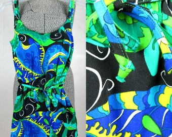 Vintage 1960s Swimsuit Romper 60s Green Paisley Skirted Playsuit Size S
