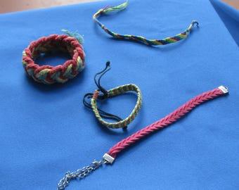 Lot Of Retro Braided & Woven Rope Bracelets Repair Repurpose