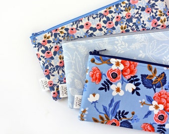 Blue Rifle Fabric, Zipper Pouch, Blue Floral, Pencil Pouch, Pencil Case, Make Up Bag, College, Kids, Gift Under 20, Cosmetic Bag, Wallet