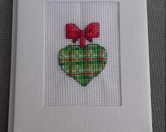 Handmade cross stitch heart card