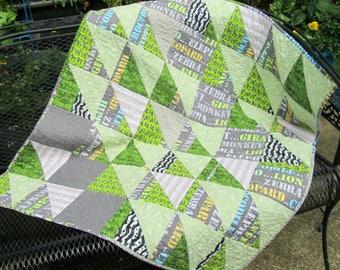 Safari Baby Quilt, Modern Baby Quilt, Baby Boy Quilt, Unisex Baby Quilt, Zoo animals, Nursery Decor, Zebra Baby Quilt, Baby Gift