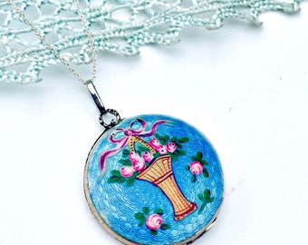 Antique Victorian Sterling Silver Blue Guilloche Enamel Floral Opening Round Locket Necklace Something Old Something Blue