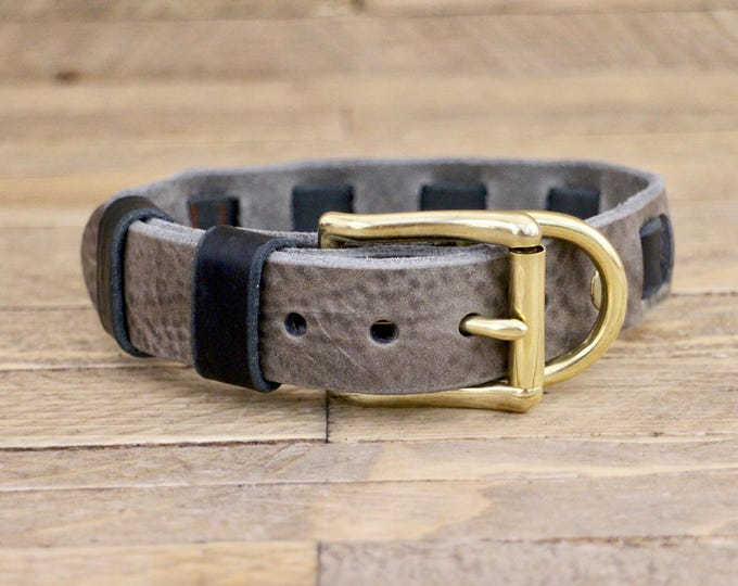 Collar, Personalised collar, FREE ID TAG, Leather collar, Gift, Handmade leather collar, Wolf grey brown collar, Dog collar, Brass hardware