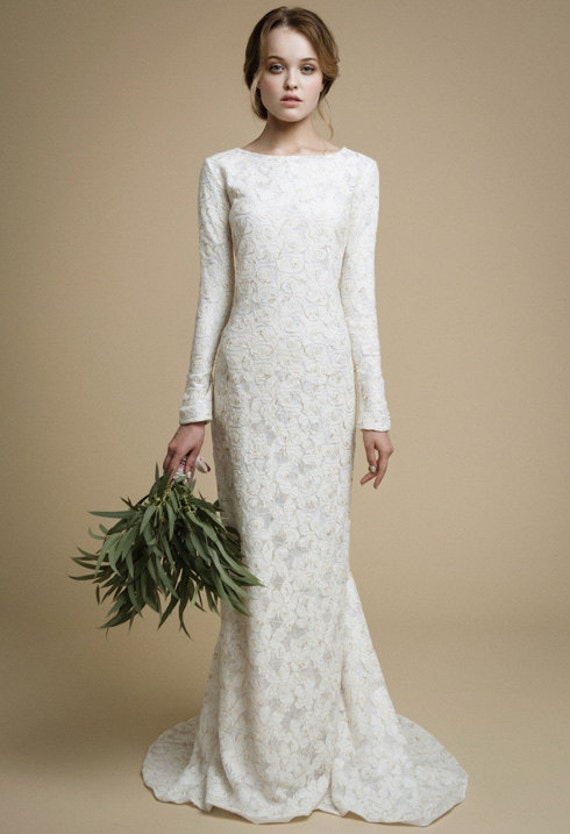 Utta long sleeves wedding dress elegant tight fit wedding utta long sleeves wedding dress elegant tight fit wedding dress mermaid wedding dress lace wedding gown boho wedding dress lace gold junglespirit