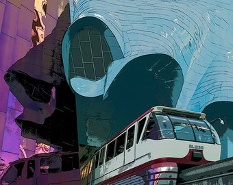 Seattle Monorail Image,  Seattle Center, Experience Music Project Tunnel