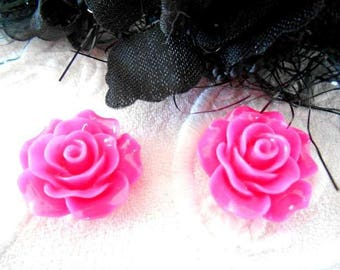 beads x 2 cabochons 20 mm hot pink flower acrylic