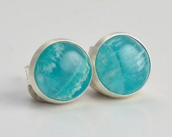 amazonite 6mm sterling silver stud earrings
