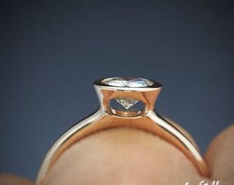 Moissanite Bezel Engagement Ring Forever Brilliant 1ct 6.5mm Moissanite Bezel Ring Peekaboo Ring 14k, 18k Rose Gold or Platinum