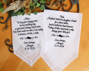 Set of 2 Parents Handkerchief, Father and Mother of the Bride, Parents Gift, wedding favor, intertwine heart design, embroidered LS0F23