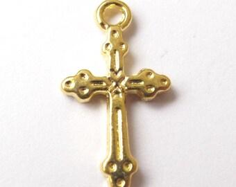 Golden cross charm 21.2x11.5mm - 2 pieces