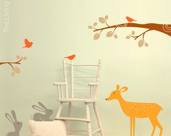 Woodland Nursery Wall Art, Forest Animals Wall Stickers, Nature Baby Wall Decals, Australian made