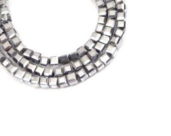 4MM Metallic Silver Czech Fire-polish Glass Faceted Cube Beads  ,  30 pcs
