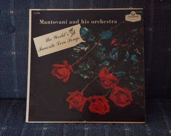 Vintage Record Album Mantovani and his orchestra The World's Favorite Love Songs LL1748 Instrumental Music