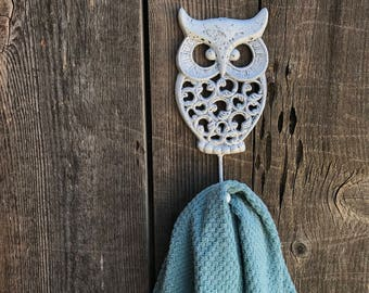 Owl Hook Hand Painted Cast Iron Wall Mount Coat Hooks, Bathroom Towel Owl Hanger, Coat Hooks, Purse Hooks, Item #522579378