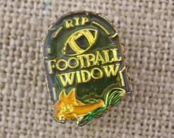 Football Widow - Enamel Pin by American Gag Bag Inc. - Vintage Novelty Pin c. 1980s