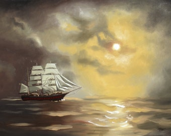 Clipper Ship painting by RUSTY RUST seascape 30x40 oils on canvas / M-385