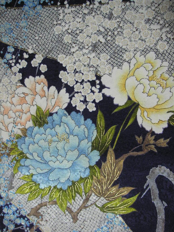 204 japanese vintage kimonosilk fabricflowerlight bluenavy 204 japanese vintage kimonosilk fabricflowerlight bluenavycreampinkyellowgoldpeonyumehandmadematerial from kimonofabricmaterial on etsy studio mightylinksfo