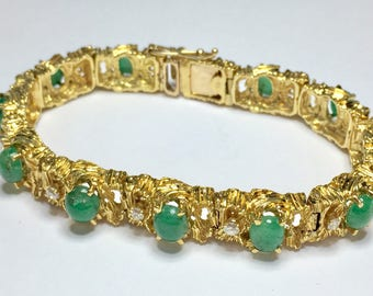 Antique 0.60CT Diamond & Jade Gold Bracelet l 14KT Yellow Gold Diamond Jade Bracelet l Vintage Gold Bracelet