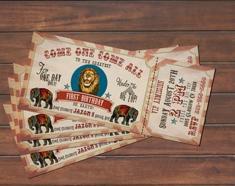 Vintage Circus Ticket Birthday Invitation *DIGITAL FILE* (.jpg or PDF)