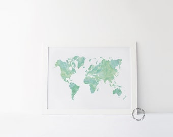 Custom quote world map print world map quote print world map mint world map print watercolor poster green travel quote world map quote home decor affiche scandinave wall decor adventure gumiabroncs Gallery