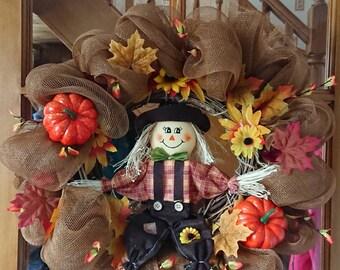 Fall/Halloween autumn scarecrow wreath door hanger handmade deco mesh