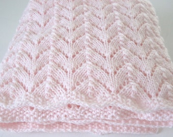 Hand Knitted, Newborn Baby Blanket, Baby Girl, Baby Boy, Baby Afghan, Baby Shower Gift