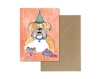 Bull Dog Card//Illustrated Bull Dog//Watercolour Bulldog//English Bull Dog//Dog with Party Hat//Illustrated Dog//Paper & Party Supplies