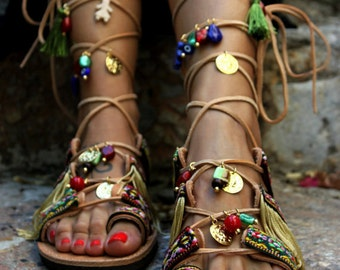 "Tie Up Gladiator Sandals, Boho Hippie Women's Shoes, Greek Leather Sandals, ""Athena"""