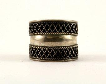 Vintage Dome Shape Zigzag Design Ring 925 Sterling Silver RG 2010