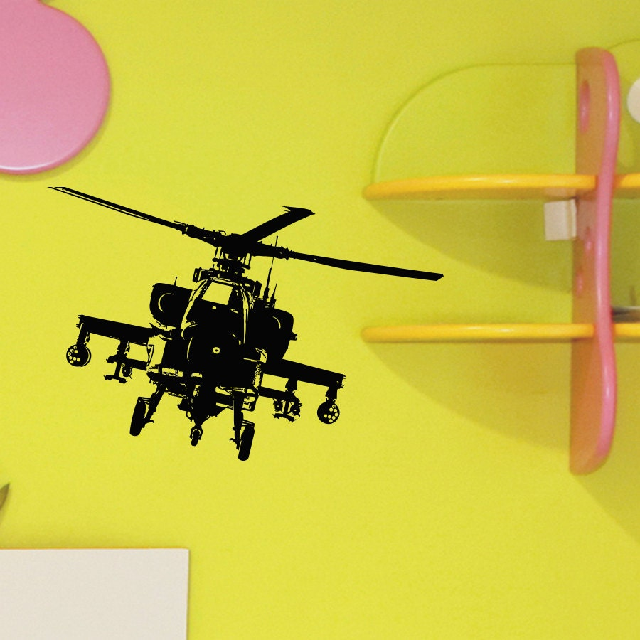 Helicopter Wall Decal Vinyl Sticker Army Military Attack Wall