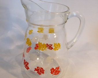 French water / juice jug with leaves design - original from the 1980s