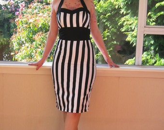 Black White Stripe Dress in a Tight Skirted 1950s, Rockabilly, Psychobilly Style Sweetheart Neckline - custom made to fit