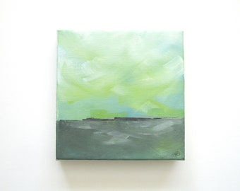 Okra - Original Oil Painting Landscape Painting Abstract Landscape Painting - 6x6 - Weather Cloud Painting Coastal Seascape - Green Gray