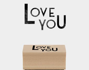 Nice tiny French stamp - Love I love you wooden rubber stamp
