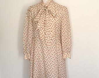 1970s Patterned Polyester Long Sleeve Dress Vintage