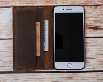 iPhone 7 Plus / 8 Plus Wallet Case, iPhone 8 Plus Credit Card Leather Wallet, Personalised Genuine Leather Wallet Case