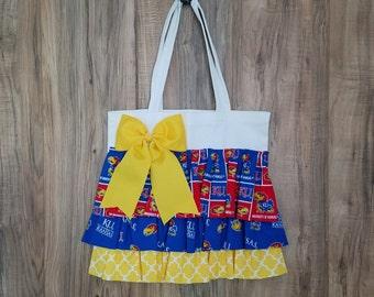 University of Kansas Inspired Ruffled Tote Bag