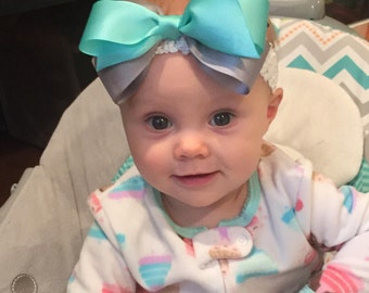 Forehead Kisses, Teal and Gray (Hair Bow Attached by Band, Newborn-3 Yrs)