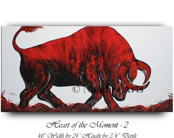 Oil Painting Bull Wall Art, Original Abstract Red Animal Modern Painting on canvas wall street Stock Exchange Painting for office by Nandita