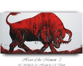 Oil Painting Bull Wall Art, Original Abstract Red Animal Modern Painting on canvas wall street Stock Exchange Wedding Gift by Nandita