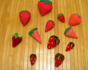 Vintage strawberry pincushion collection-old sewing pin cushions
