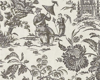 "Two 96"" x 50""  Custom LINED Curtain Panels - Chinoiseri AsianToile - Pagoda - Black"