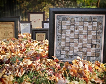 PLUM STREET SAMPLERS Dead Man's Chess counted cross stitch patterns Exhumeplary Collection at thecottageneedle.com Halloween