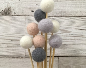 Custom posy of felt ball flowers - pom pom flowers, billy balls, billy ballflowers, craspedia