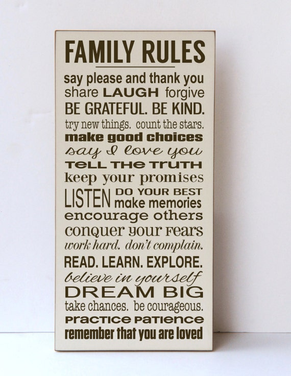 Attractive Family Rules Sign Rules of the Family Our Family Rules TN74